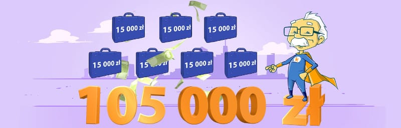 7 kuferków pełnych gotówki w wysokości 15000 zł