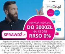 Lendon - pierwsza pożyczka gratis do 3000 zł