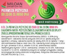 Miloan - oferta chwilówki do 2500 zł za pierwszym razem