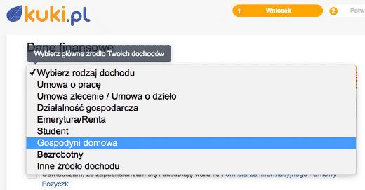 Screen z Kuki.pl: ciekawe, czy gospodyni domowa może wskazywać na pobieranie 500+?