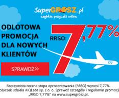 Supergrosz - baner ofertowy z RRSO 7,7% i logo