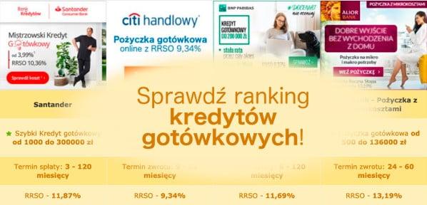 Ranking - kredyty gotówkowe - banner