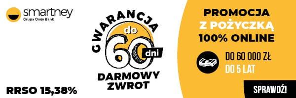 Promocyjny banner firmy Smartney - test pożyczki na 60 dni