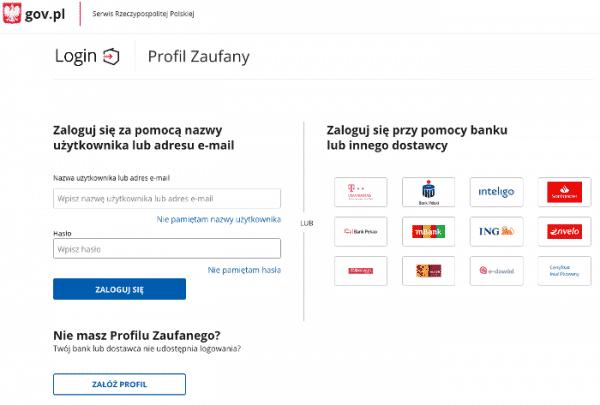 profil zaufany logowanie - bank - gov.pl