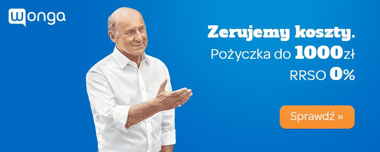 Wonga - pożyczka za darmo - do 3000 zł na 30 dni - banner - Piotr Fronczewski