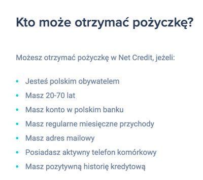 Wymagania Netcredit - kto może wziąć pożyczkę?