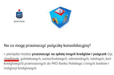 PKO BP - informacja o konsolidacji chwilówek