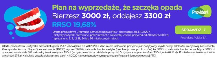 Provident - banner - wyprzedaże - szczęka opada