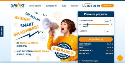 smartpożyczka - podgląd strony www