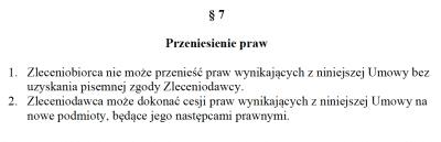 Zakaz cesji (przeniesienia) praw w umowie