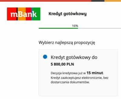 Mbank - kredyt gotówkowy - decyzja w kwadrans