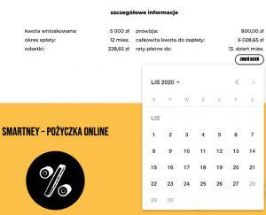 Wybór daty spłaty zobowiązania do harmonogramu - kalendarz w Smartney