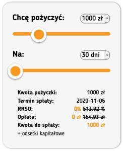 Niewielka pożyczka - suwak i wybór kwoty