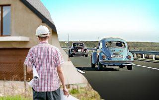 Autostrada - ruch drogowy i budowa domu - architekt