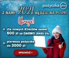 Pożyczkaplus.pl - chwilówka z Rzeczywistą Roczną Stopą Oprocentowania 0% - banner nowy rok