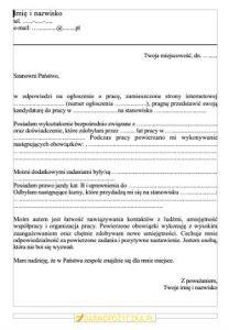 Wzór listu motywacyjnego od DarmoPożyczka.pl - podgląd
