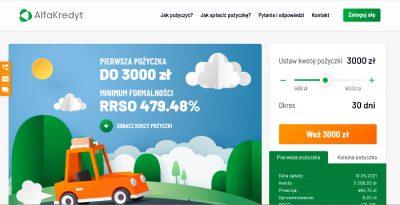 Alfakredyt - pogląd strony www pożyczkodawcy