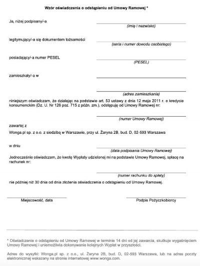 Wzór odstąpienia od umowy pożyczki - Wonga