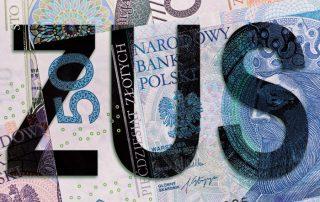Napis ZUS na tle banknotów ze składki - świadczenie