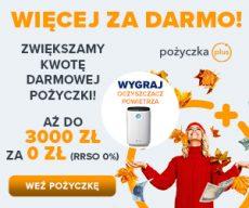 Pożyczkaplus.pl - chwilówka z Rzeczywistą Roczną Stopą Oprocentowania 0% - 3000 zł za darmo -jesień konkurs